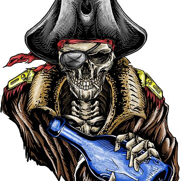 Pirate Skull Blue Bottle Color by Hotrodsc