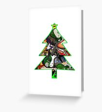 Rock Guitar Collage Christmas Tree Greeting Card