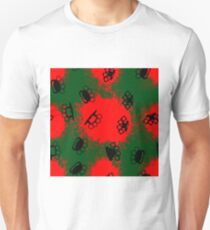 Metal Knuckles Silhouette Seamless Pattern on Red Background Unisex T-Shirt