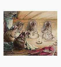 The mice sewing coats by Beatrix Potter Photographic Print