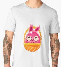 Pink Egg Shaped Easter Bunny In Basket Men's Premium T-Shirt