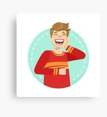 Embarrassed Round Character Emoji Canvas Print