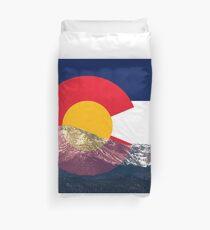 Pikes Peak Colorado Flag Duvet Cover