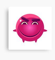 Mischievous Round Character Emoji Canvas Print