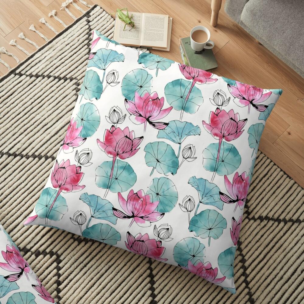 Waterlily buds Floor Pillow