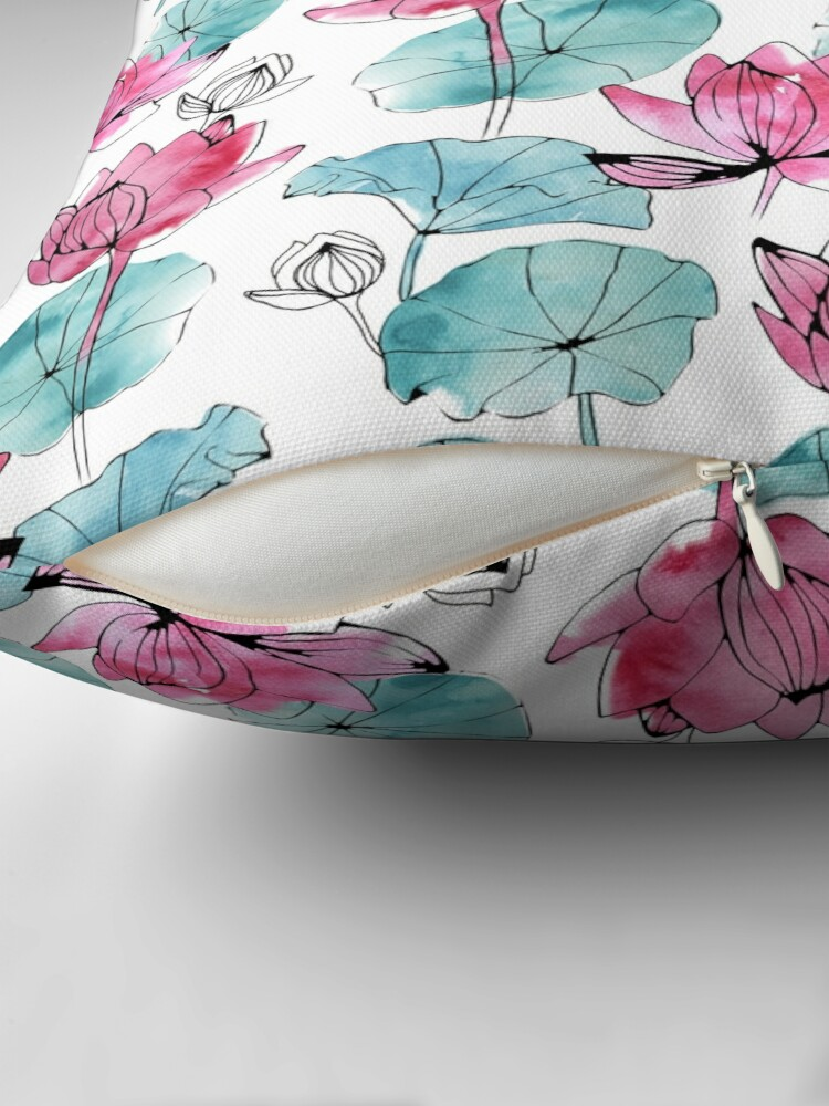 Alternate view of Waterlily buds Floor Pillow