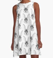 Autumn Forest Bunny A-Linien Kleid