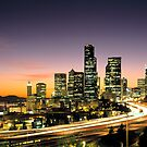 Seattle Washington Night time City Skyline by Jeff Hathaway