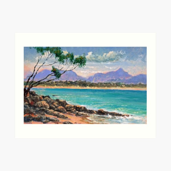 Looking North from Wategos Beach, Byron Bay Art Print