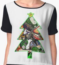 Rock Guitar Collage Christmas Tree Women's Chiffon Top