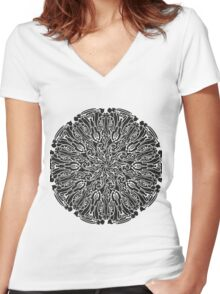 ornate circle Women's Fitted V-Neck T-Shirt