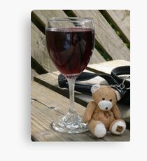 Little old wine teddy me Canvas Print