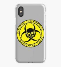 Zombie Outbreak Response Team w/ skull - yellow iPhone Case