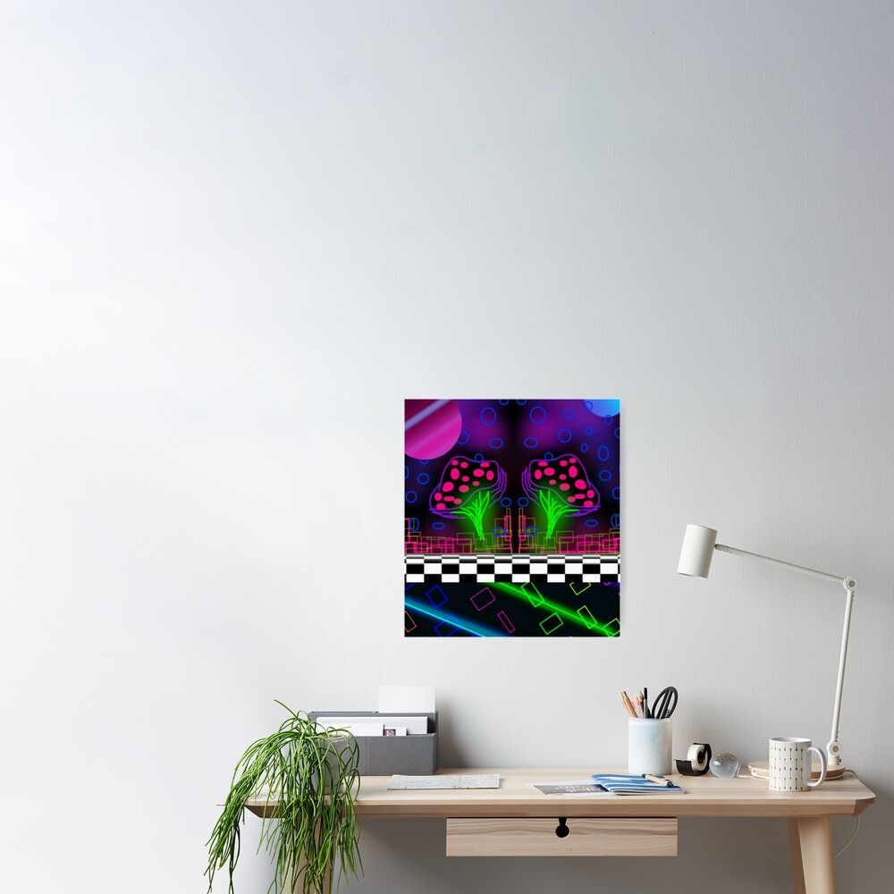 """neon Glowing Trippy Mushroom"" Poster By Neonmoonwaves"
