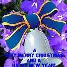 Silver Bell with Royal Blue Ribbon (with and without greeting) by BlueMoonRose
