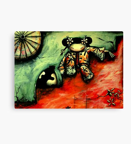 Girl on Red Wall Canvas Print