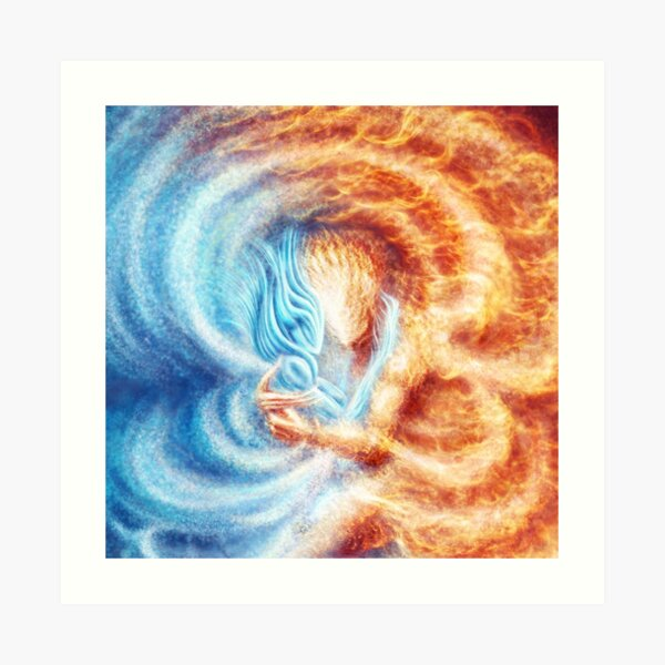 Fire and Ice  (closeup, square) Art Print