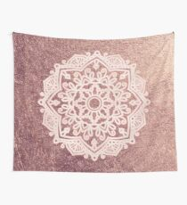 Dusty rose gold mandala Wall Tapestry