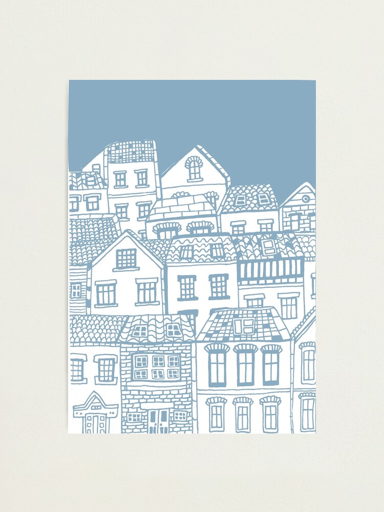 Alternate view of Old city - hand drawing Photographic Print