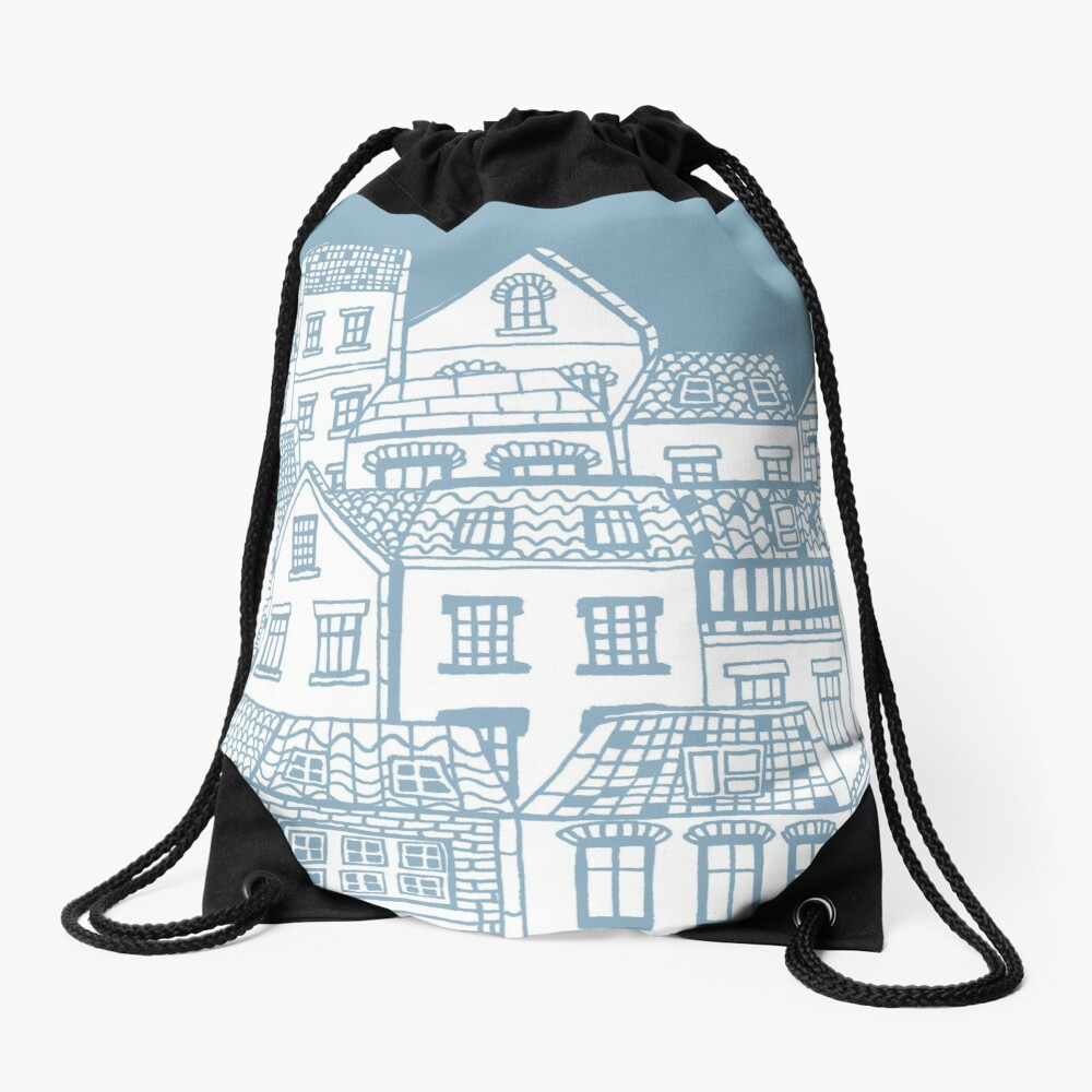 Old city - hand drawing Drawstring Bag