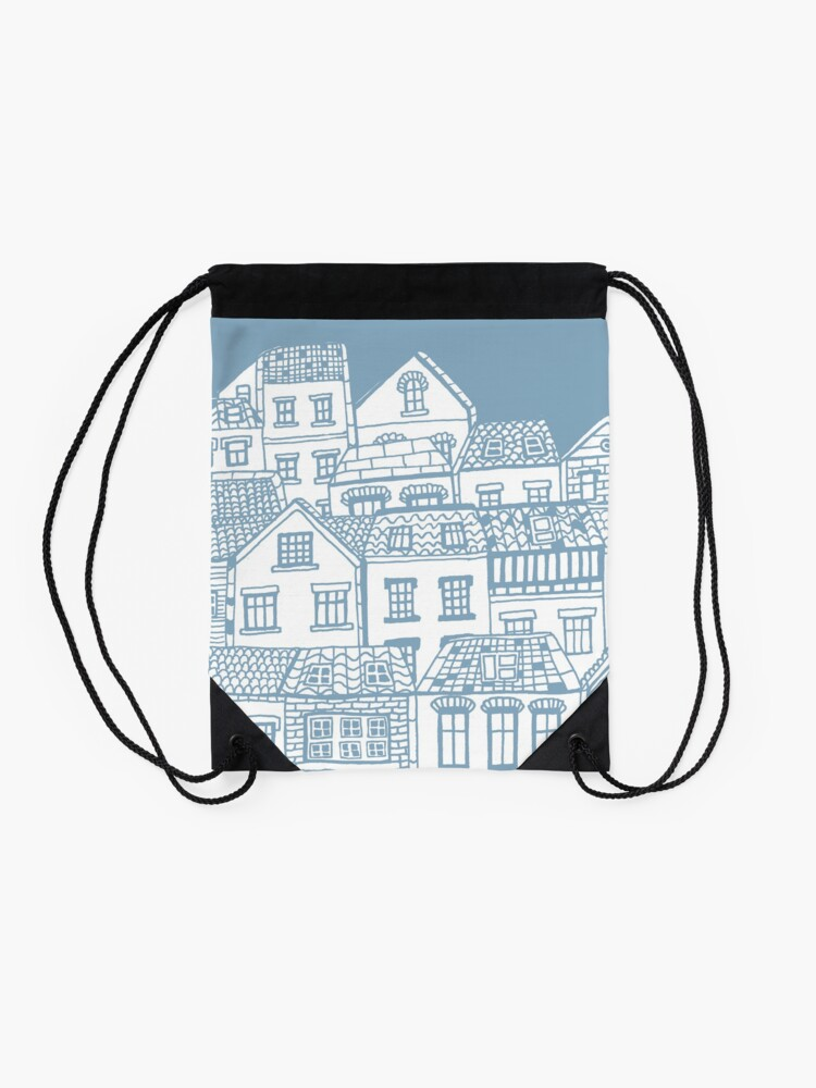 Alternate view of Old city - hand drawing Drawstring Bag