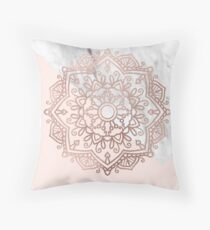 Vogue series - rose gold mandala Throw Pillow