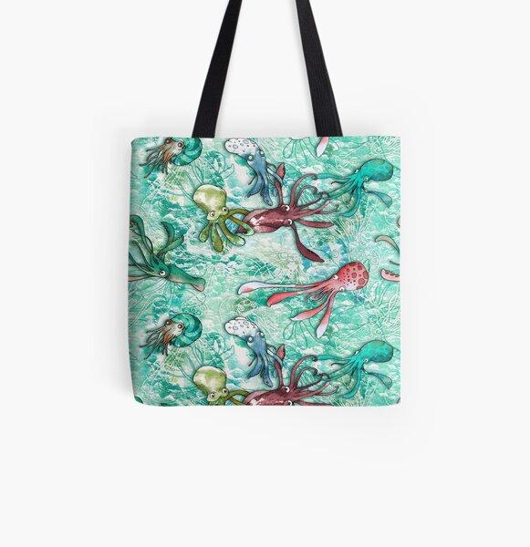 Cephalopods Allover-Print Tote Bag