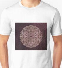 Darkest burgundy rose gold mandala T-Shirt
