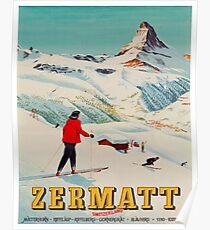 Zermatt, Switzerland Vintage Ski Travel Poster Poster