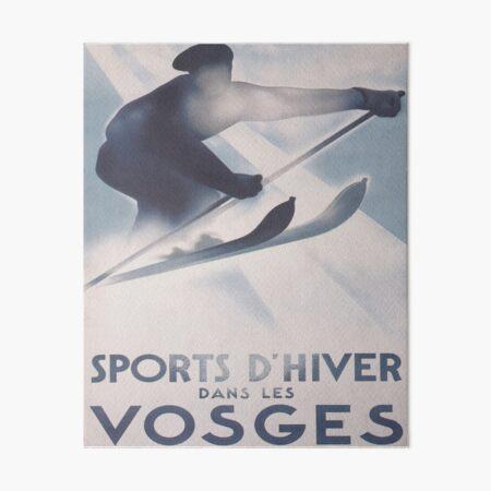 Vosges, France Affiche de voyage de ski vintage Impression rigide