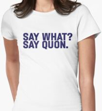 Say What? Saquon. Women's Fitted T-Shirt