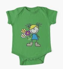 little doll - doll with flowers One Piece - Short Sleeve