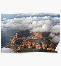 Kolob section of Zions Park with clouds Poster