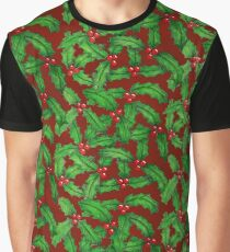 Retro Holly Holiday Graphic T-Shirt