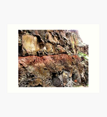 Injurated soil zone baked by lava flow above Art Print