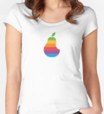 Pear Apple Parody Funny Retro Women's Fitted Scoop T-Shirt