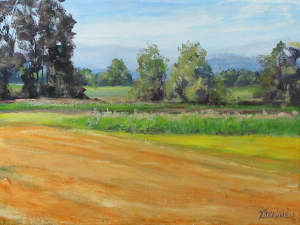 Original Acrylic Plein Air Landscape Painting - Sauvie Island by Karen Ilari