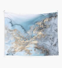 Blue and Gold Marble Wall Tapestry