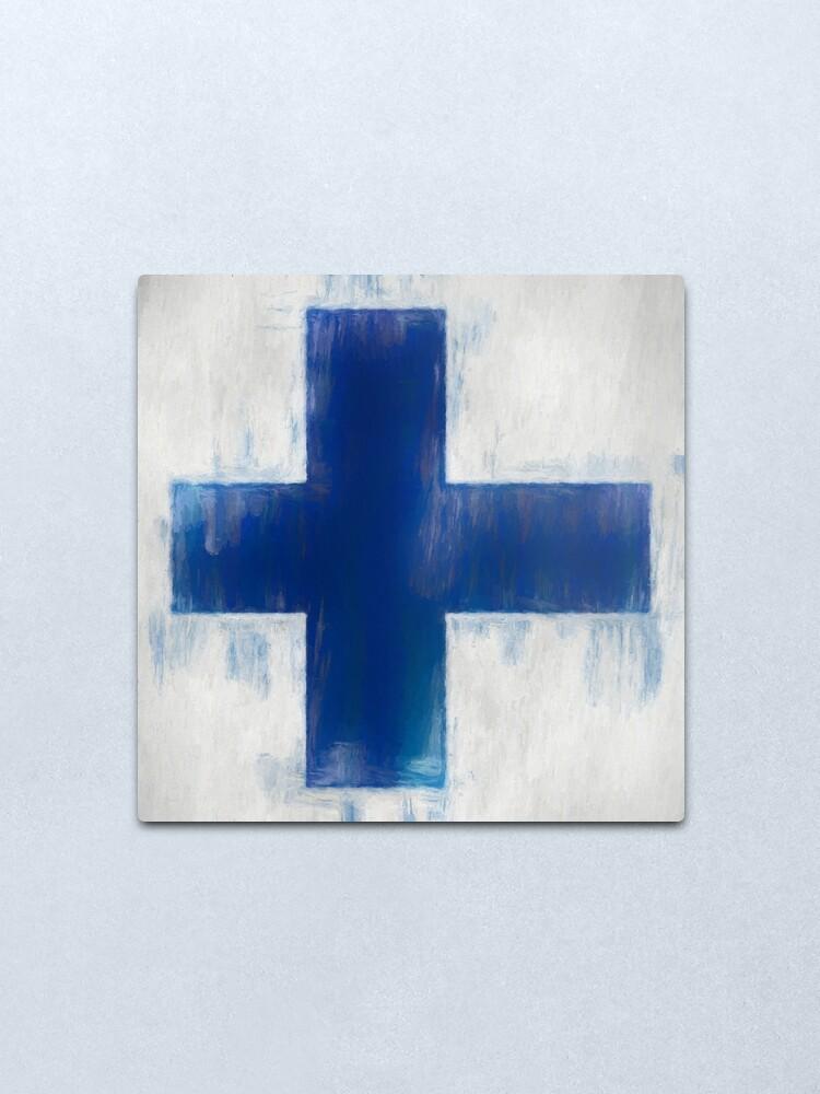 Alternate view of Finnish Flag No. 2, Series 2 Metal Print
