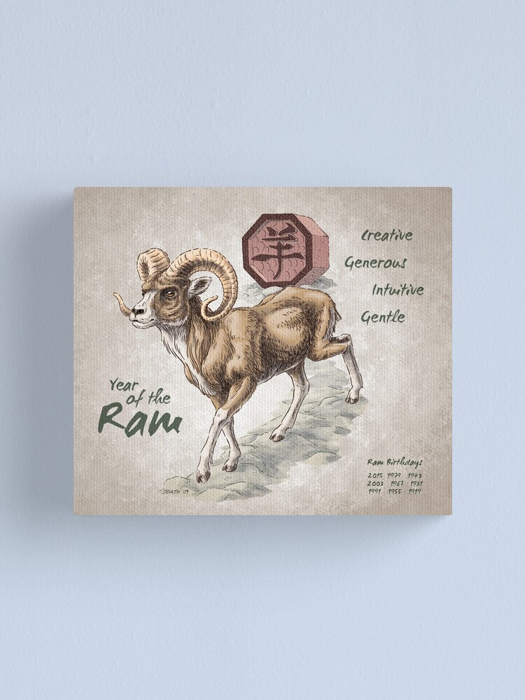Alternate view of Year of the Ram Calendar (white) Canvas Print