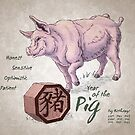 Year of the Pig Calendar (white) by Stephanie Smith