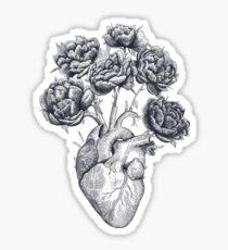Heart with peonies B&W Sticker