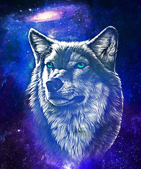 """""""Wolf Face With Galaxy"""" Posters By HEARTBEATS"""