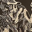 Goat Kids Woodcut by Lydia-Ham