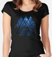 Sacred Geometry Triangles - Wisdom Of The Night Women's Fitted Scoop T-Shirt