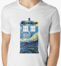 Van Gogh's TARDIS Men's V-Neck T-Shirt
