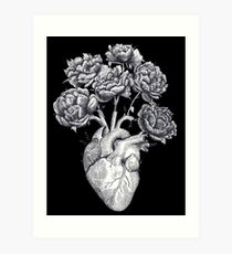 Heart with peonies B&W on black Art Print