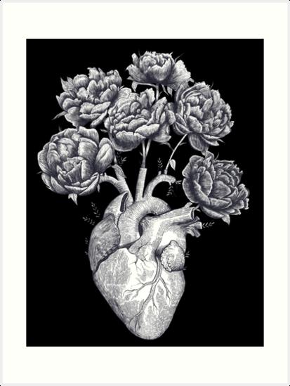 Herz mit Pfingstrosen B & W auf Schwarzem von Valeriya Korenkova Kodamorkovkart