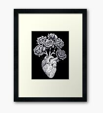 Heart with peonies B&W on black Framed Print