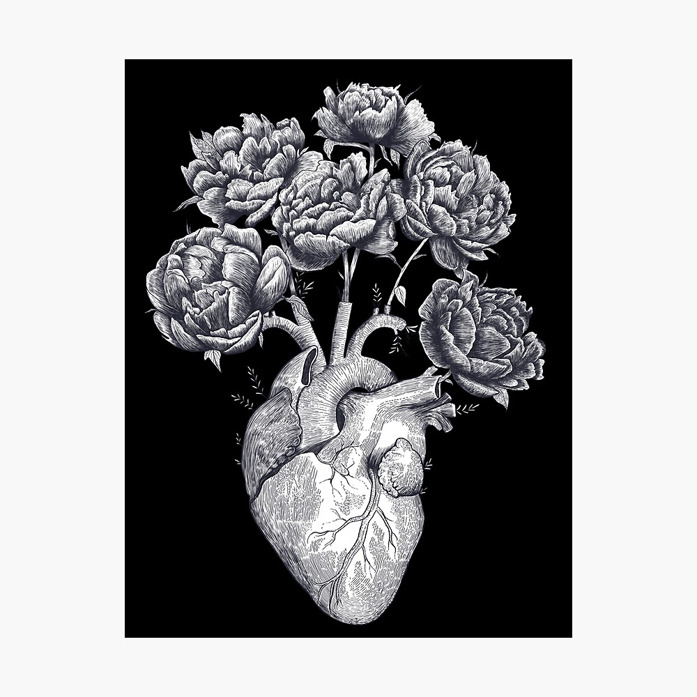 Heart with peonies B&W on black Photographic Print